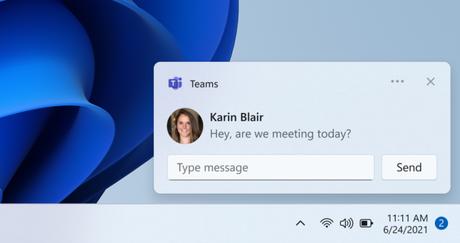 Notificação do Microsoft Teams no Windows 11