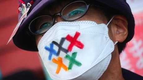 Homem com máscara em protesto contra os Jogos Olímpicos no Japão; medidas foram implementadas para tentar evitar que evento vire um 'superpropagador' de covid-19
