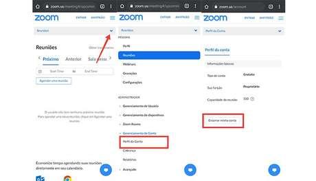 Processo para excluir a conta do Zoom Meetings no celular