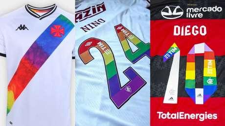 Clubes colocaram as cores do arco-íris em suas tradicionais camisas (Foto: Rafael Ribeiro/Vasco)