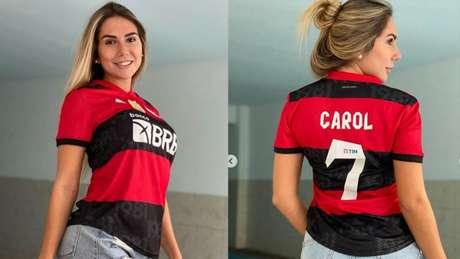 Carol Portaluppi vestiu a 7 do pai no Flamengo (Foto: Reprodução/Instagram)