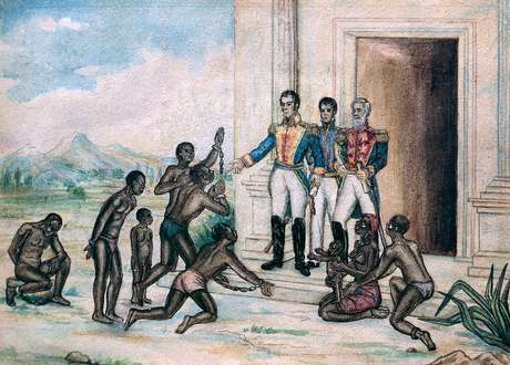 Bolívar baixou vários decretos que buscavam uma reforma social profunda, queria abolir a escravidão e melhorar a vida dos povos indígenas — aquarela sobre papel de Fernández Luis Cancino