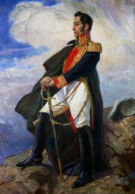 Retrato de Simón Bolívar, pintado por Daniel Hernández, em exposição no Museu de Arte de Lima
