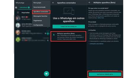 Processo para ativar o recurso de múltiplos aparelhos no WhatsApp para Android