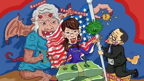 Os cartuns compartilhados buscam ridicularizar Steve Bannon, Li-Meng Yan e Guo Wengui