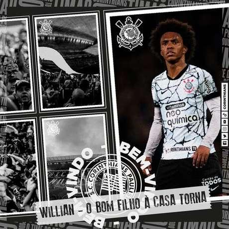 Willian foi oficializado pelo Corinthians como mais novo reforço do time