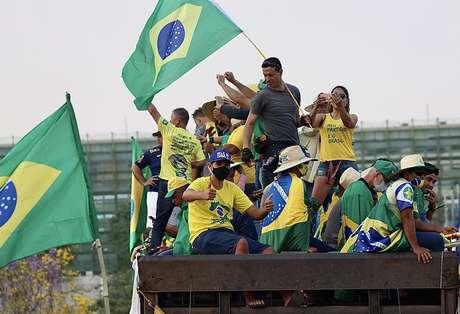 Protesto do apoiadores do Presidente Jair Bolsonaro contra o supremo, STF, realizado na Praça dos Três Poderes, na cidade de Brasília