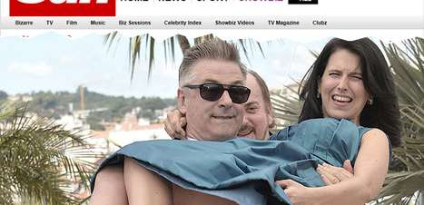 Cannes: mulher de Alec Baldwin deixa bumbum à mostra