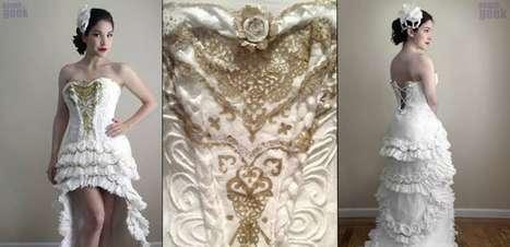 Estudante cria vestido de noiva com rolos de papel higiênico