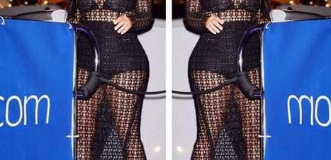 Grávida, Kim Kardashian abusa de transparência em Cannes