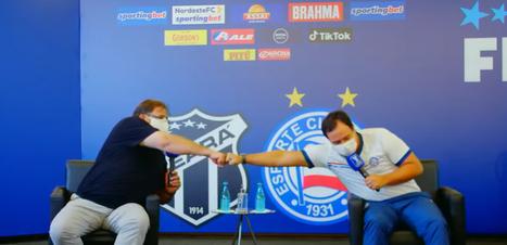 Bem humorados, jogadores e técnicos da final da Copa do Nordeste participam de entrevista coletiva