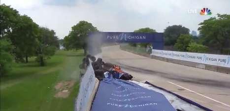 Rosenqvist bate forte, arrebenta muro e causa bandeira vermelha em Detroit