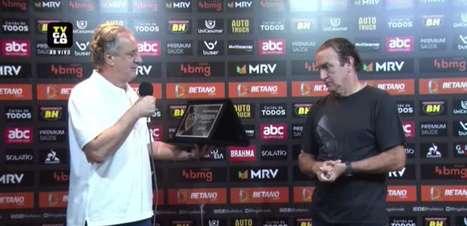 ATLÉTICO-MG: Cuca recebe placa em homenagem a marca de 200 jogos no comando do clube