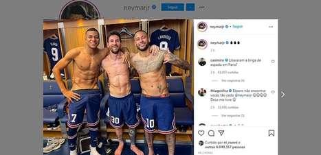 Neymar posta foto com Mbappé e Messi no vestiário e argentino avisa: 'Estamos nos conhecendo mais'