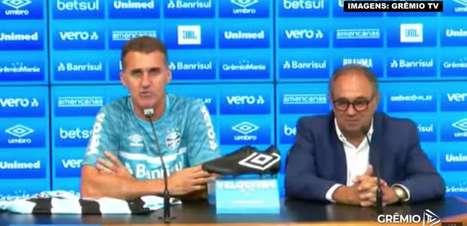 """GRÊMIO: Em apresentação, Mancini pede empenho 24 horas e promete fazer história no comando do clube: """"Estamos todos voltados para fazer o melhor"""""""