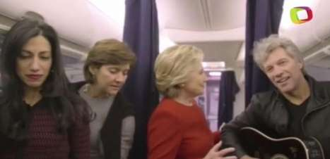 """Hillary e Bon Jovi fazem """"desafio do manequim"""" por votos"""