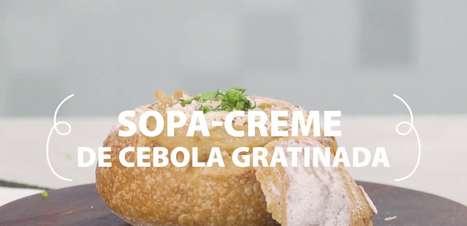 Sopa-creme de Cebola Gratinada