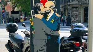 Grupo pinta Guardiola e Mourinho aos beijos em Barcelona