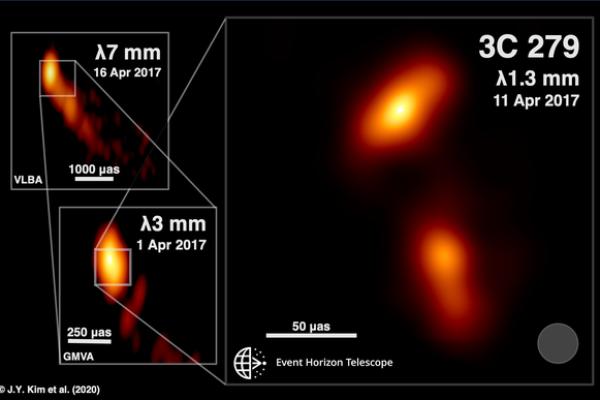 Jatos de plasma de dentro de buraco negro foram fotografados pela primeira vez