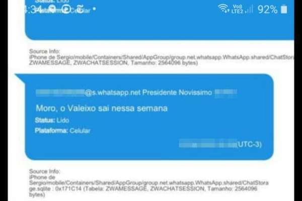 Mensagem de Bolsonaro a Moro