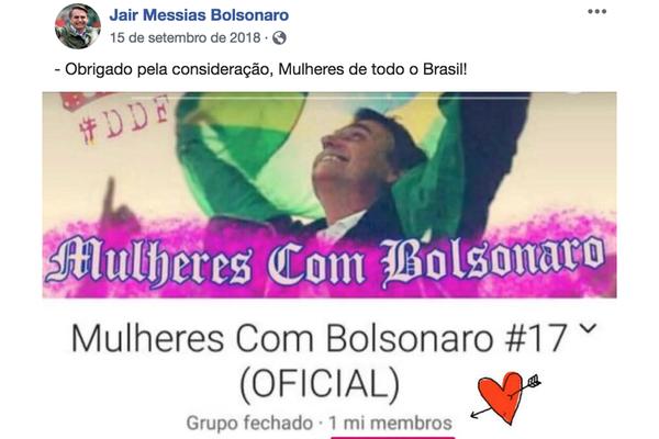 Para coligações derrotadas e autoras de ações na Justiça Eleitoral, agradecimento publicado pelo então candidato seria forte indício de que Bolsonaro teria participado ou teria conhecimento de ataque a grupo no Facebook
