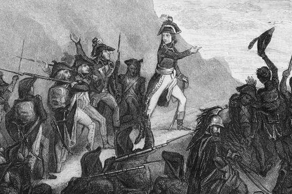 Napoleão Bonaparte na Itália, no registro do dia 5 de abril de 1796