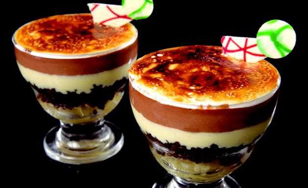Sobremesa de abacaxi com creme de chocolate