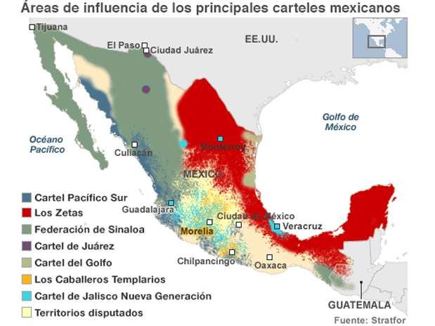 De acuerdo con especialistas y autoridades, en México hoy existen al menos siete grandes carteles, y unas 20 bandas y grupos locales. Foto: BBCMundo.com