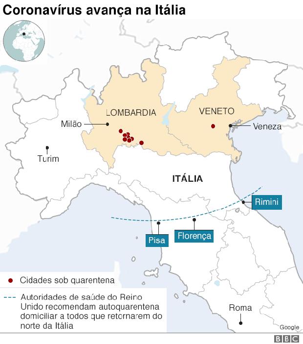 avanço do coronavirus na italia