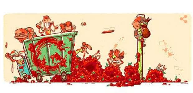 Google se 'pinta de rojo' con doodle de la Tomatina