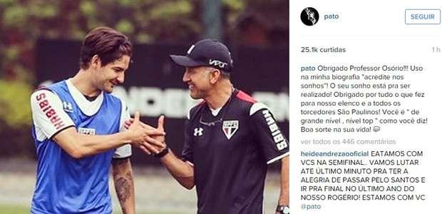 Pato homenageia Osorio após saída: