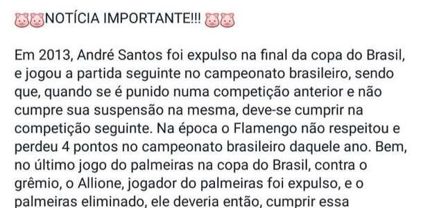 Em vão, flamenguistas querem tirar 4 pontos do Palmeiras