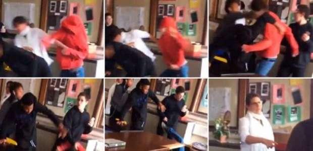 Un estudiante noqueó a otro porque le pegó a la maestra