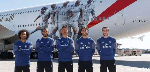 Trio BBC, Marcelo e Sergio Ramos estampam novo avião do Real
