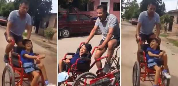 """Pai constrói """"cadeira de bicicleta"""" para filho com ..."""