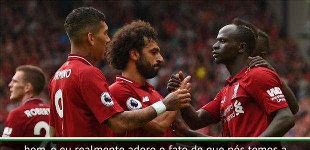 """Klopp: """"Firmino, Salah e Mané não competem entre eles"""""""