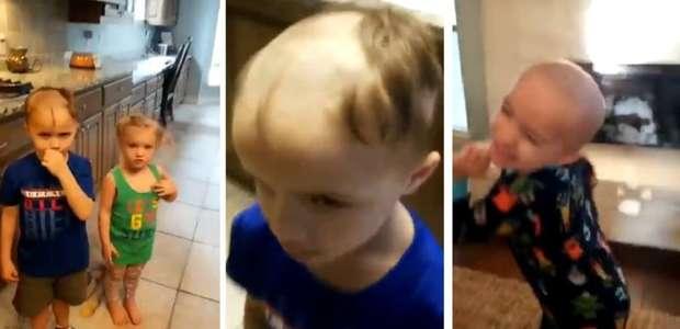 Menino raspa cabeça dos irmãos mais novos com barbeador ...