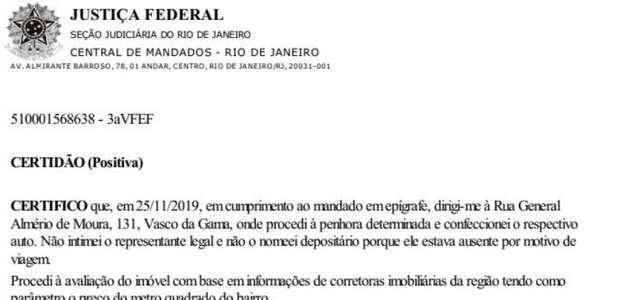 Por dívida da União, Justiça Federal certifica penhora ...