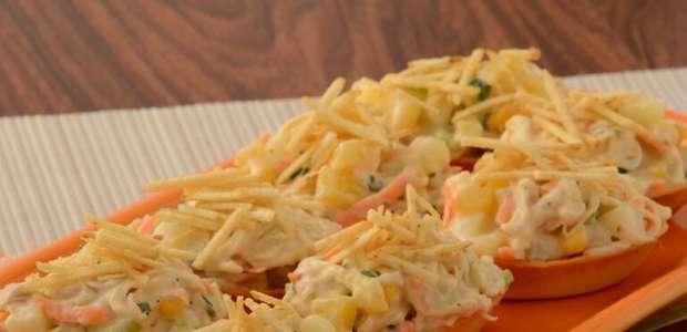 Barquinha de salpicão: aperitivo fácil e rápido