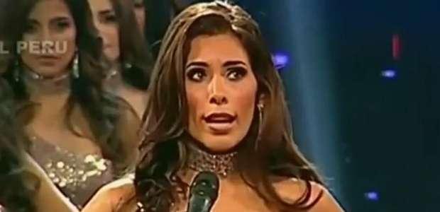 Miss Peru quebra protocolo e faz alerta para violência