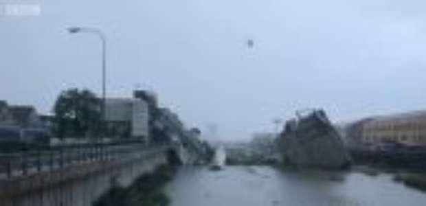 Vídeo capta momento em que 200m de ponte desmorona na Itália