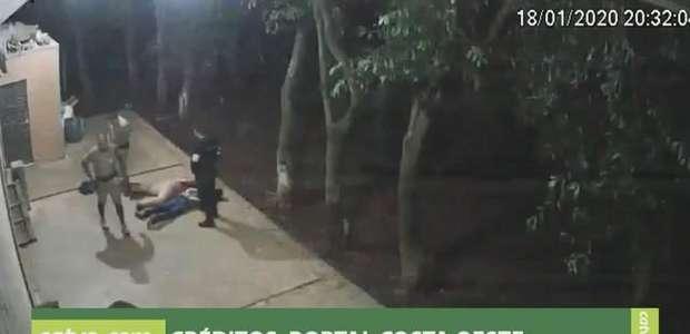 Câmera registra homens sendo detidos durante arrombamento em Santa Helena