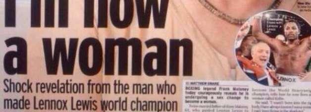 """Lenda do boxe fará mudança de sexo: """"nasci no corpo errado"""""""