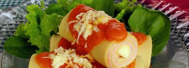 Receita prática e deliciosa de canelone de presunto e queijo