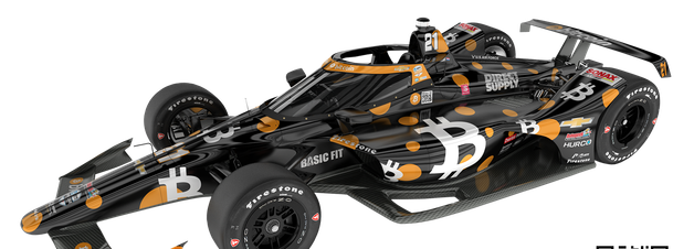 Carpenter apresenta 'carro Bitcoin' em preto e laranja para VeeKay na Indy 500