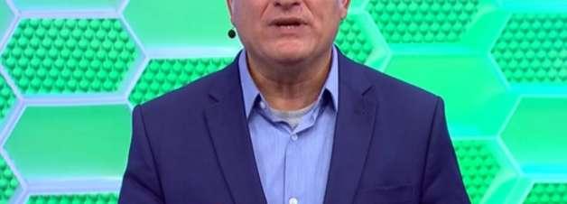 Cleber Machado troca as bolas e chama Domingão de Caldeirão ao vivo na Globo