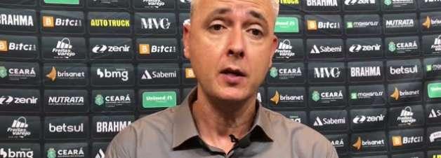 """CEARÁ: Tiago Nunes reconhece preocupação com proximidade ao Z4 e ressalta: """"Nosso foco é manter a equipe na Série A"""""""