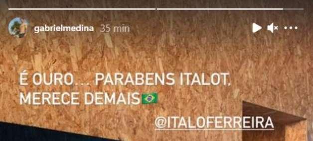"""Medina parabeniza Ítalo Ferreira por ouro: """"Merece demais"""""""