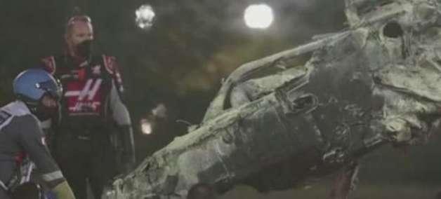 Veja como ficou carro de piloto da F1 após acidente com fogo