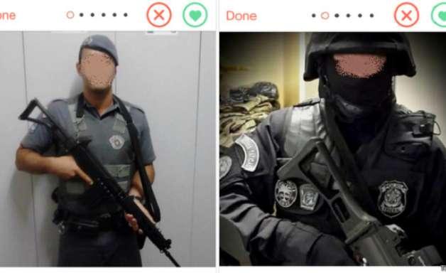 Policiais fardados usam armas para flertar no Tinder